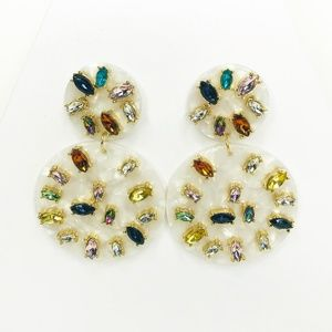 White Resin Gem Drop Earrings